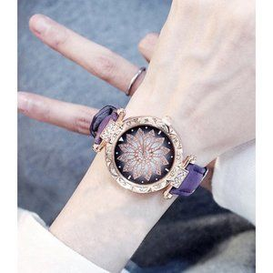 Women's Purple & Gold Crystal Flower Wrist Watch